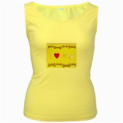 I Love My Dog! II Womens  Tank Top (Yellow)
