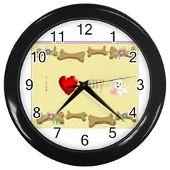 I Love My Dog! II Wall Clock (Black)