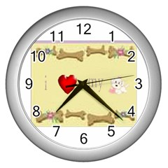 I Love My Dog! Ii Wall Clock (silver)