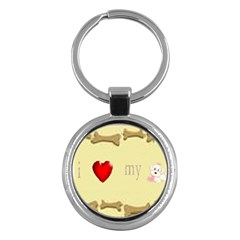 I Love My Dog! Ii Key Chain (round)