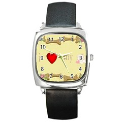 I Love My Dog! Ii Square Leather Watch