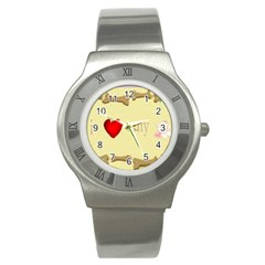 I Love My Dog! Ii Stainless Steel Watch (unisex)