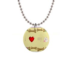 I Love My Dog! II Button Necklace
