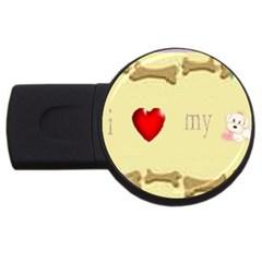 I Love My Dog! II 4GB USB Flash Drive (Round)