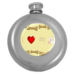 I Love My Dog! II Hip Flask (Round)