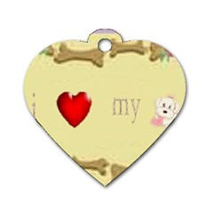 I Love My Dog! II Dog Tag Heart (One Sided)