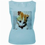 Sweet Face :) Womens  Tank Top (Baby Blue) Front