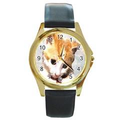 Sweet Face :) Round Metal Watch (gold Rim)