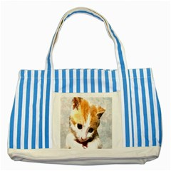 Sweet Face :) Blue Striped Tote Bag