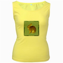 Cute Bunny Womens  Tank Top (Yellow)