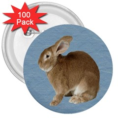 Cute Bunny 3  Button (100 Pack)