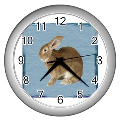 Cute Bunny Wall Clock (Silver)