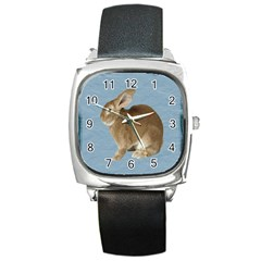 Cute Bunny Square Leather Watch