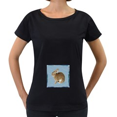 Cute Bunny Womens' Maternity T Shirt (black)