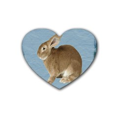Cute Bunny Drink Coasters 4 Pack (heart)