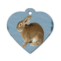 Cute Bunny Dog Tag Heart (One Sided)