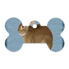 Cute Bunny Dog Tag Bone (two Sided)