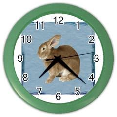 Cute Bunny Wall Clock (color)