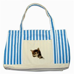 Curious Kitty Blue Striped Tote Bag