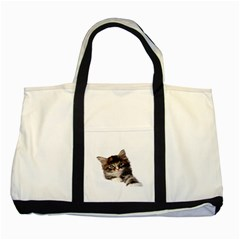 Curious Kitty Two Toned Tote Bag