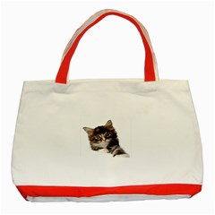 Curious Kitty Classic Tote Bag (Red)