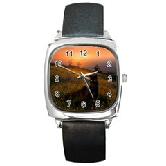Evening Rest Square Leather Watch