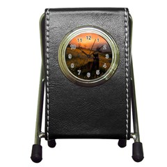 Evening Rest Stationery Holder Clock