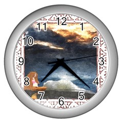 Stormy Twilight [Framed] Wall Clock (Silver)