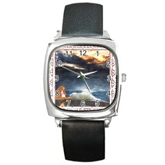 Stormy Twilight [Framed] Square Leather Watch