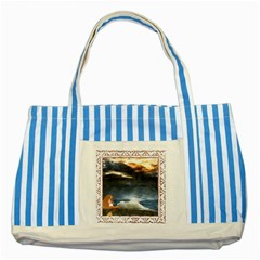 Stormy Twilight [Framed] Blue Striped Tote Bag