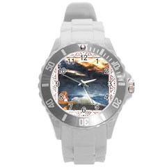 Stormy Twilight [framed] Plastic Sport Watch (large)