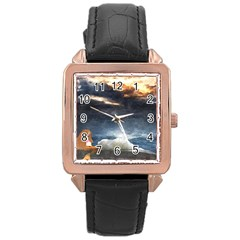 Stormy Twilight [Framed] Rose Gold Leather Watch