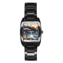 Stormy Twilight [Framed] Men s Stainless Steel Barrel Analog Watch