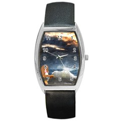 Stormy Twilight  Tonneau Leather Watch