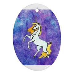 Unicorn II Oval Ornament (Two Sides)