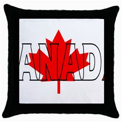 Canada Black Throw Pillow Case