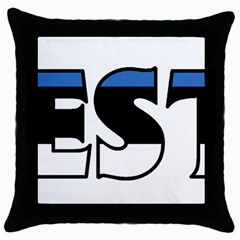 Estonia Black Throw Pillow Case