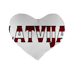 Latvia 16  Premium Heart Shape Cushion