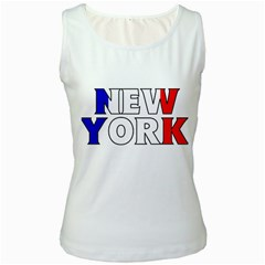 New York France Womens  Tank Top (White)