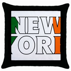 New York Ireland Black Throw Pillow Case