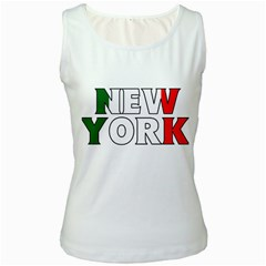 New York Italy Womens  Tank Top (White)