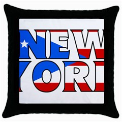 New York Pr Black Throw Pillow Case