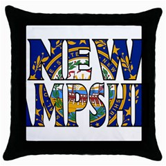 New Hampshire Black Throw Pillow Case