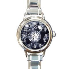 15661082 Shiny Diamonds Background Round Italian Charm Watch