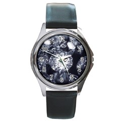 15661082 Shiny Diamonds Background Round Metal Watch (Silver Rim)