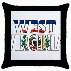 West Va Black Throw Pillow Case