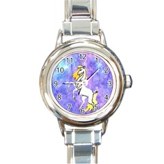 Framed Unicorn Round Italian Charm Watch