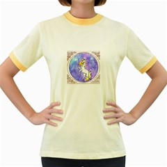 Framed Unicorn Womens  Ringer T Shirt (colored)
