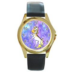 Framed Unicorn Round Metal Watch (Gold Rim)