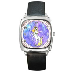 Framed Unicorn Square Leather Watch